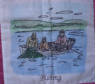 Parrill, Rita.  'Fishing' panel from a Newfoundland quilt made by Rita Parrill, Pines Cove.