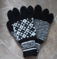 Simmonds, Mary Jane.  Traditional double-knit diamond pattern gloves made by Mary Jane Simmonds,...