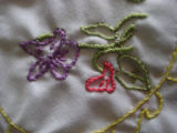 Genge, Eliza.  Close-up of embroidered tablecloth with lacy fringe made by Eliza Genge, Anchor...