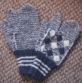 Simmonds, Mary Jane.  Traditional double-knit diamond pattern trigger-finger gloves made by Mary...