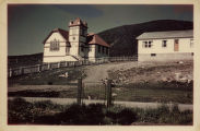United Church (showing vestry), Woody Point. Colour photograph.