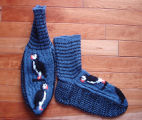 Kearney, Nellie.  Double-knit puffin socks made by Nellie Kearney, Conche, Newfoundland.