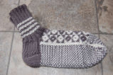Bromley, Susan.  Double-knit traditional diamond pattern socks made by Susan Bromley, Conche,...