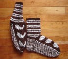 Kearney, Nellie.  Double-knit whale socks made by Nellie Kearney, Conche, Newfoundland.