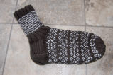 Bromley, Susan.  Speckled and striped socks made by Susan Bromley, Conche, Newfoundland.