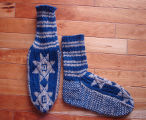 Kearney, Nellie.  Double-knit star socks made by Nellie Kearney, Conche, Newfoundland.