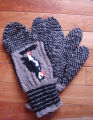 Kearney, Nellie.  Double-knit puffin trigger-finger gloves made by Nellie Kearney, Conche,...