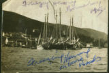 Herring schooners. Black and white photograph.