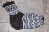 Bromley, Susan.  Double-knit striped socks made by Susan Bromley, Coche, Newfoundland.