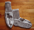 Kearney, Nellie.  Double-knit moose socks made by Nellie Kearney, Conche, Newfoundland.
