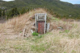 An old root cellar near the Simmonds family garden, Conche, Newfoundland.