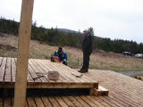 French Shore Interpretation Centre.  Building an addition to the outdoor oven at the French Shore...