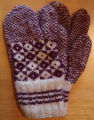 Dower, Alice.  A pair of double-knit diamond pattern trigger-finger gloves made by Alice Dower,...