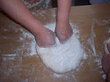 Bread Making Workshop.  Joan Simmonds and Anne Byrne neading dough with flour, Conche,...