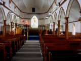 'Seal Skin Church'.  The interior of the 'Seal Skin Church', Flower's Cove.