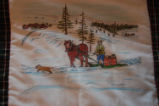 Burke, Odette and Pius.  'Winter hauling' panel from a painted Newfoundland quilt made by Odette...
