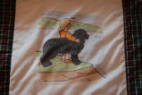 Burke, Odette and Pius.  'NFLD dog' panel from a painted Newfoundland quilt made by Odette and...