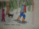 Burke, Odette and Pius.  'Xmas tree' panel from a painted Newfoundland quilt made by Odette and...