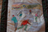 Burke, Odette and Pius.  'Ice pans' panel from a painted Newfoundland quilt made by Odette and...
