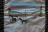 Burke, Odette and Pius.  'Dogteam' panel from a painted Newfoundland quilt made by Odette and Pius...