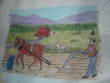 Burke, Odette and Pius.  'Farming' panel from a painted Newfoundland quilt made by Odette and Pius...