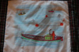 Burke, Odette and Pius.  'Fishing boats' panel from a painted Newfoundland quilt made by Odette...