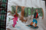 Burke, Odette and Pius.  'Snowshoeing' panel from a painted Newfoundland quilt made by Odette and...
