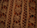 Whalen, Polly.  Close-up of crocheted table runner made by Polly Whalen, Flower's Cove.