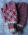 Rice, Betty.  A pair of red diamond pattern trigger finger gloves made by Betty Rice, Main Brook.