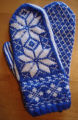 Dower, Alice.  Traditional double-knit snowflake mittens with cuff made by Alice Dower, Conche,...