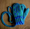 Carroll, Gertrude.  Child sized traditional double-knit diamond pattern mittens made by Gert...
