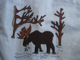 Coombs, Inga.  Moose panel from a painted Newfoundland quilt made by Inga Coombs, Main Brook.