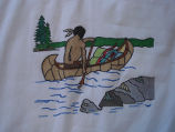 Coombs, Inga.  A canoeing scene from a painted Newfoundland quilt made by Inga Coombs, Main Brook.