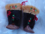 Coombs, Inga.  Sealskin boot ornaments belonging to Inga Coombs, Main Brook.