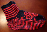 Hunt, Gertrude.  Traditional double-knit heart pattern socks made by Gert Hunt, Conche,...