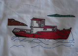 Coombs, Inga.  Fishing boat panel from a painted Newfoundland quilt made by Inga Coombs, Main...