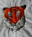 Pilgrim, Isabel.  Tiger panel from an embroidered graduation quilt made by Isabel Pilgrim, Main...