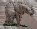 Pilgrim, Isabel.  Elephant panel from an embroidered graduation quilt made by Isabel Pilgrim, Main...
