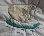 Pilgrim, Isabel.  Polar bear panel from an embroidered graduation quilt made by Isabel Pilgrim,...
