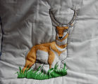 Pilgrim, Isabel.  Gazelle panel from an embroidered graduation quilt made by Isabel Pilgrim, Main...
