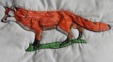 Pilgrim, Isabel.  Fox panel from an embroidered graduation quilt made by Isabel Pilgrim, Main...
