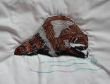 Pilgrim, Isabel.  Raccoon panel from an embroidered graduation quilt made by Isabel Pilgrim, Main...