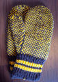 Fillier, Rita.  The back side of a pair of snowflake mittens made by Rita Fillier, Main Brook.