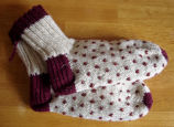 Patey, Gwen.  A pair of thrum knit socks made by Gwen Patey, Quirpon.