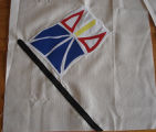 Patey, Gwen.  Work-in-progress Newfoundland flag panel for an applique Newfoundland quilt made by...