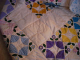 Patey, Gwen.  A flower reel pattern patchwork quilt that Gwen Patey is making for her daughter,...