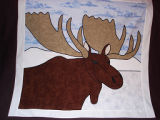 Patey, Gwen.  An applique moose wall hanging made by Gwen Patey, Quirpon.