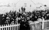 Crowd gathered at the ceremony to lay the cornerstone of the new Church of England Church at...