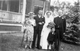 Douglas Osterhaut and Vivian (Forbes) Osterhaut on their wedding day with the groom's parents and...