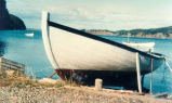 Frank Drake's motorboat hauled up on his slip at Haystack